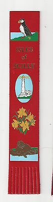 Isles of Scilly. Red Leather English Bookmark.