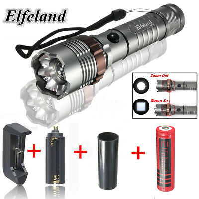 14000LM Elfeland T6 LED Zoomable Flashlight 18650 Torch Light Lamp Charger