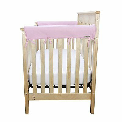 """New CribWrap Trend Lab Set of 2 Side Crib Rail Covers in Pink Up to 12"""" Around"""