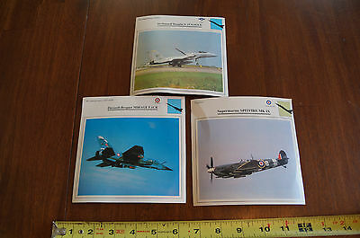 Vintage Lot of 3 Military Aircraft Fact Sheet Cards