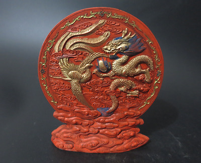 Antique Qing Chinese Carved Cinnabar Ink Stick With Qian Long Mark 龙凤呈祥