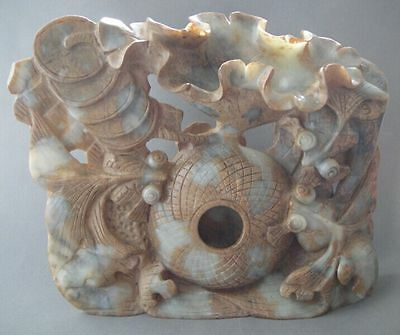 """10"""" Ancient Chinese Old jade hand-carved Lotus flower and fish statue 4300g"""