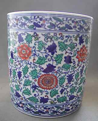 Ancient Chinese Qing Dy Famille Rose Porcelain Hand Painted Flowers Brush Pot