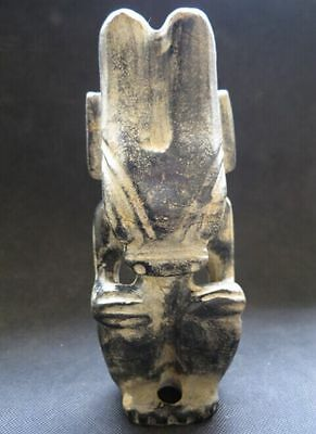 "Old Chinese Black Jade Stone Carved ""Hong Shan"" Culture ""Sun God"" Figure 1324g"