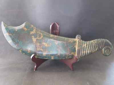 """15.35""""Chinese ancient old natural green jade hand-carved Big knife 818g"""