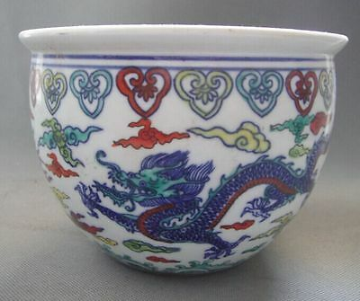 Ancient Chinese Qing Dy famille rose Pot Painted dragon