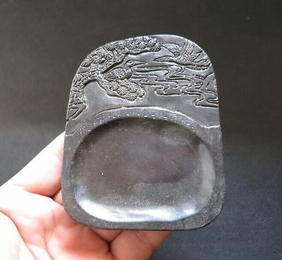 Chinese antiques Old Jade hand-carved  pine tree and crane Ink stone Y2140