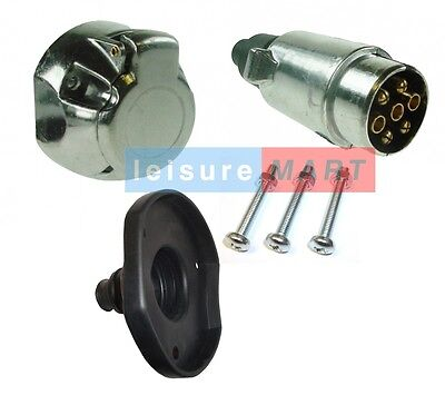 12 V N Type 7 pin metal trailer towing plug and socket with fittings and gasket