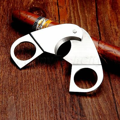 Portable Stainless Double Blades Cigar Cutter Scissors Shears Guillotine Silver