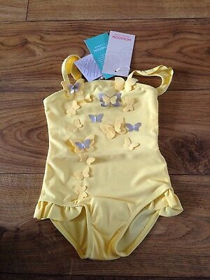 Rrp £12 Monsoon yellow butterfly appliqué swimsuit 3-6 months