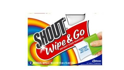 Shout Wipe & Go Instant Stain Remover Laundry Help Travel Textured