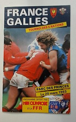 FRANCE v WALES 20 Mar 1993 at Paris RUGBY PROGRAMME
