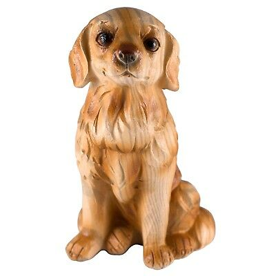 Golden Retriever Carved Wood Look Dog Figurine Resin 3.5 Inch High New!