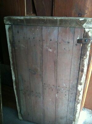 Antique 1800s smoker oven door chestnut frame rose head nails cast iron hinges