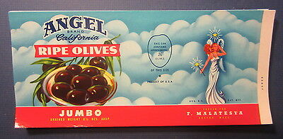 Wholesale Lot of 100 Old 1950's - ANGEL Brand - CAN LABELS - Jumbo RIPE OLIVES