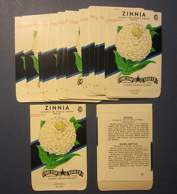 Wholesale Lot of 25 Old Vintage 1950's ZINNIA White Flower SEED PACKETS - EMPTY