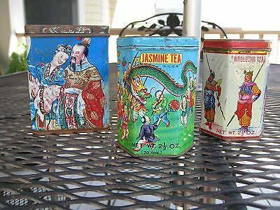lot of 3 Vintage Chinese tea tins, Jasmine and Wooloong collectible Tea tins • $3.25