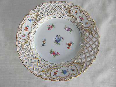 Antique Meissen Reticulated Plate on Stand Floral Pattern -Crossed Sword-As is