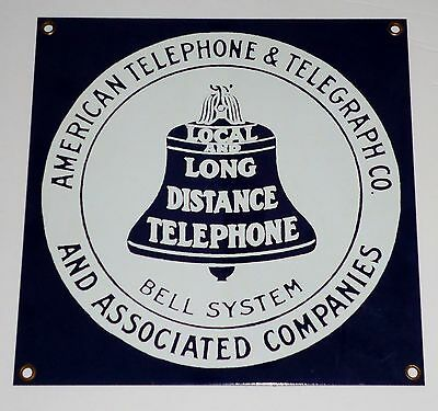 American Telephone & Telegraph Bell System Sign At&t -  Porcelain Coated Steel