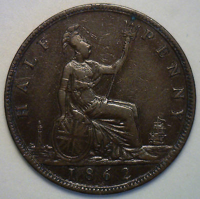 1862 Bronze Half Pence UK Half Penny Britain Coin XF