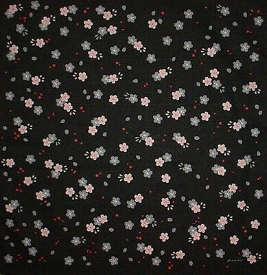 Furoshiki Wrapping Cloth Japanese Cotton Fabric 'Black Cherry Blossom' 50cm