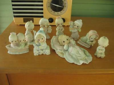 LOT Vintage PRECIOUS MOMENTS Porcelain Christmas Figurine Ornaments-Total 9 Pcs • $10.50