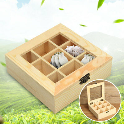 Tea Bag Storage Box Bamboo Organizer 9 Sections Wood Sugar Packet Container