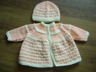 New Hand Knitted Apricot/Cream Matinee Jacket and Hat Set 0/3 months