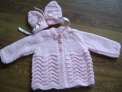 New Hand Knitted Pink Matinee Jacket and Mittens Set~ Newborn