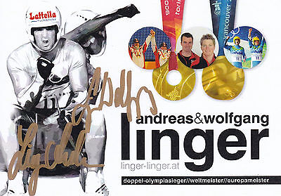 Andreas und Wolfgang LINGER - Österreich, Gold Olympia 2004 Rodeln, Original!