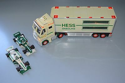 2003 Hess Toy Truck Toy Truck Trailer Race Cars Indy Formula 1 Gasoline Fuel