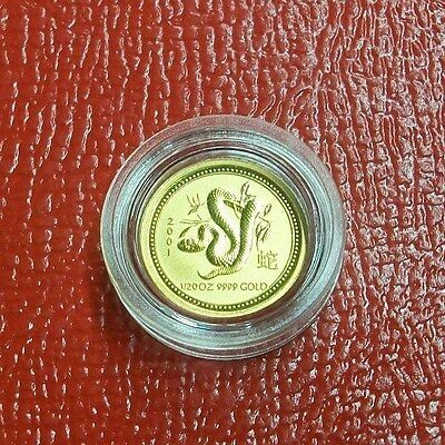 2001 1/20 oz Gold Lunar Year of the Snake BU (Series I) in Capsule