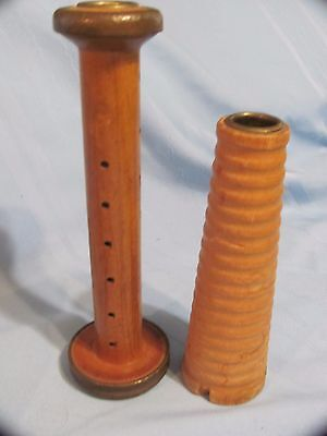 2 Vintage Antique Metal & Wood Textile Thread Yarn Sewing Spindle Spools Bobbins