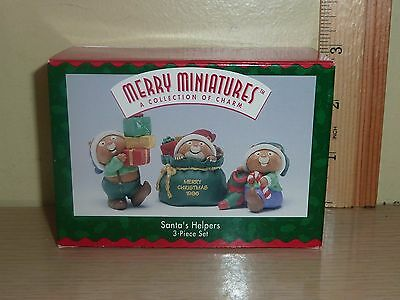 1996 Hallmark Merry Miniatures ~ Santa's Helpers .. 3 piece Set