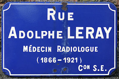 Big old French enamel steel street name sign plaque Doctur Adolphe Leray Rennes
