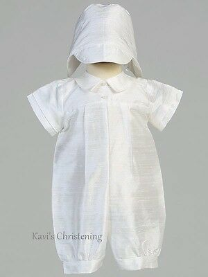 CLEARANCE Boys White Christening Outfit Baptism Romper 100% Silk Size 3-6 Months