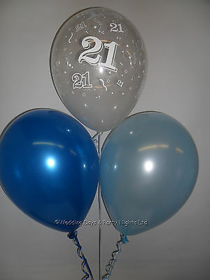 30 21st Birthday Party Helium Air Balloons Clear Pale Royal Blue Decorations