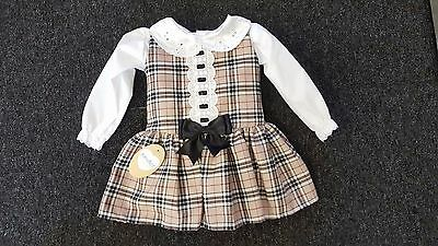AW17 Kinder Boutique Romany Beige Tartan Dropped Waist Dress & Blouse 0-4 years