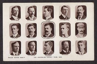 Real Photo Postcard Australia Test Ashes Cricket Team 1905 Joe Darling Captain