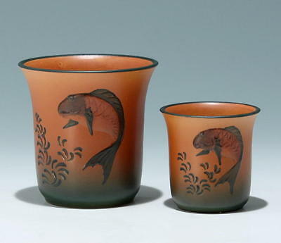 A Pair of Handpainted P. Ipsen Terracotta Vases circa 1925              #17649