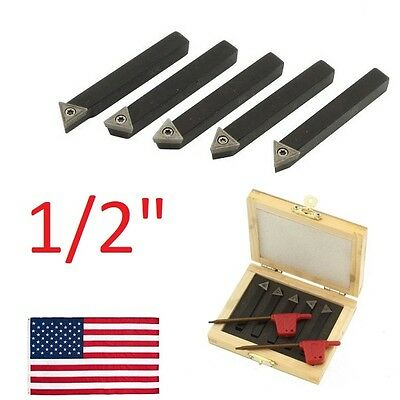 "5 pc 1/2"" Lathe Indexable Carbide Insert + Turning Tooling Bit Holder Set"