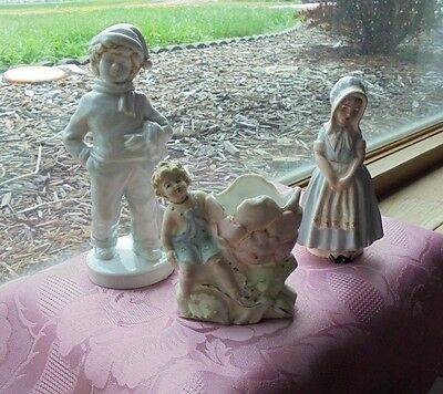 Lot of 3 Figurines * Little Pioneer Girl, Dickens Boy Character & Nymph w/Flower