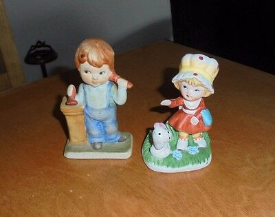Lot of 2 Ceramic Figurines - Little Girl with Puppy and Boy with Play Phone