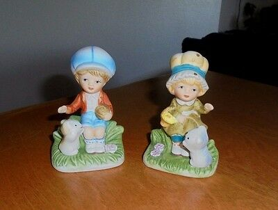 Lot of 2 Homco Ceramic Figurines - Little Girl and Boy with Their Puppies