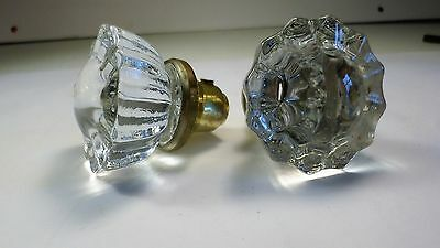 Vintage Pair of pretty Glass Doorknobs Matching Set Knobs