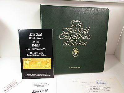 THE FIRST GOLD BANKNOTES OF BELIZE - 11 NOTES IN BINDER ALBUM - 22k NOTES