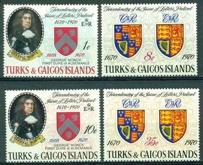 Turks & Caicos Islands Scott #213-216 MNH Tercentenary Letters of Patent Arms $$