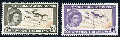 Turks & Caicos Islands Scott #136-137 MNH New Constitution Maps $$