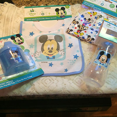 Lot of 4 Disney Baby Mickey Mouse Sippy Cup, Bib, Bottle hat baby shower new