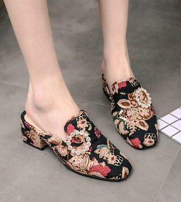 2d516c3af25a Womens Suede Printed Floral Mid Block Heel Square toe Mules Pumps Slippers  Shoes